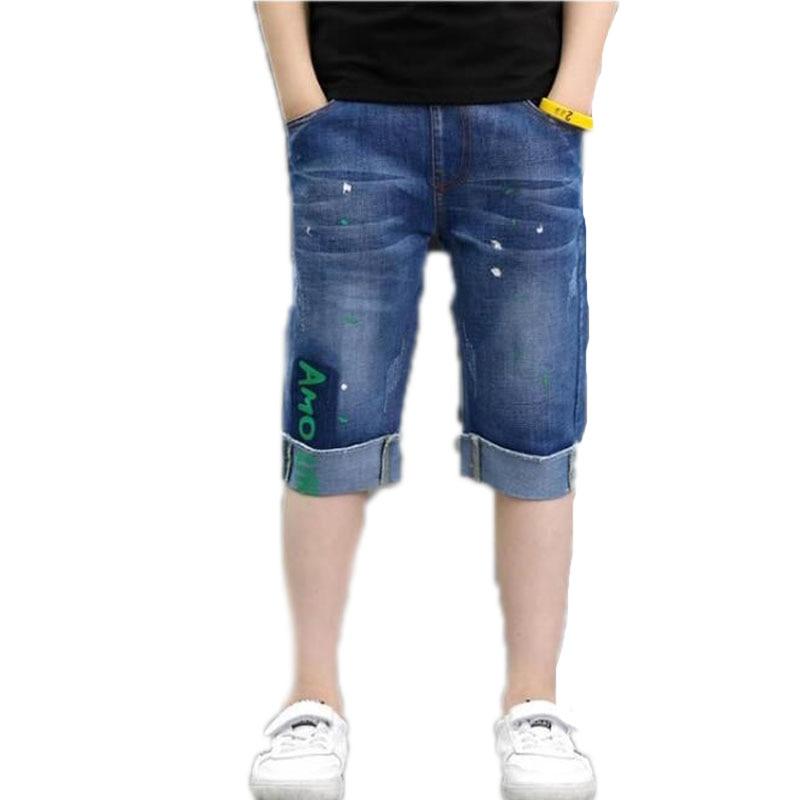 Teenager Kids Boys Denim   Shorts   4Y-16Y Summer Letter Printed Children Boys Casual Pants Soft Cotton Jeans   Short   Straight Pants