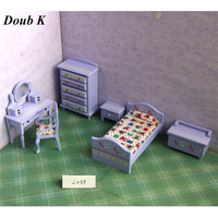 Doub K 1:12 Wood Dollhouse Furniture toy purple wooden furniture accessories Miniature dolls house pretend play toys for girls