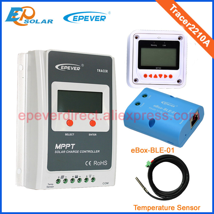 Two color choices MT50 Solar regulator 20A MPPT Tracer2210A with BLE and sensor for 12v 24v auto work mppt 20a solar regulator tracer2210a with mt50 remote meter and temperature sensor