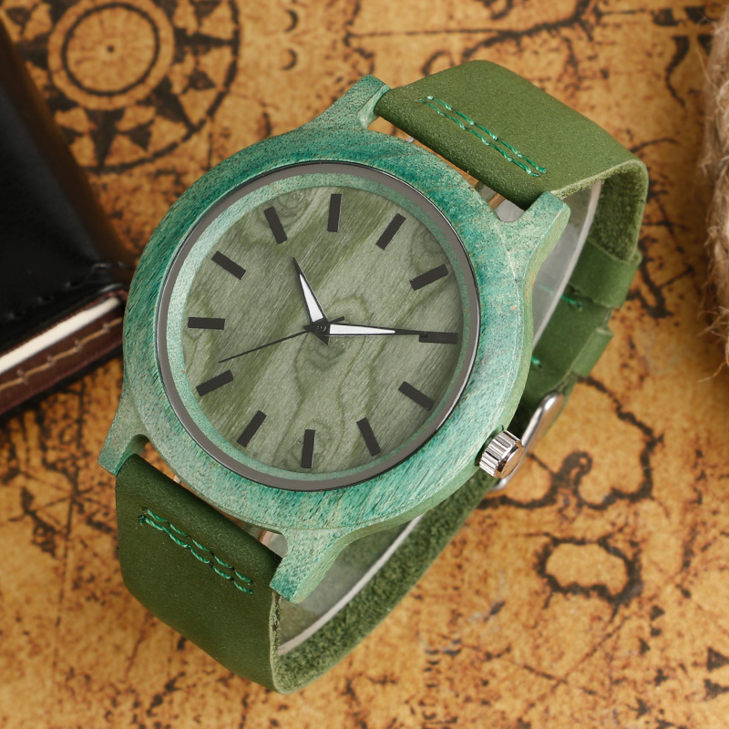 Image 2 - Top Gifts Fashion Green Watch Mens Womens Natural Handmade Bamboo Wooden Quartz Clock Trendy Genuine Leather Relogio Femininofemininofeminino relogio  -