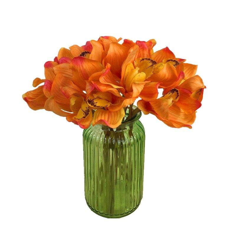 a6fe6ae41 10 unids lote naranja PU látex orquídea Flor del banquete de la novia Real  Touch flor falsa falsificación del banquete de boda envío libre