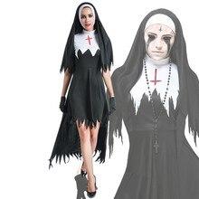Disfraz de fantasma de Halloween para mujer, disfraz de monja escalofriante, disfraz de vampiro negro, fantasía, Terror, fiesta