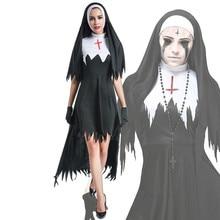ฮาโลวีนGhost Nunน่ากลัวคอสเพลย์เครื่องแต่งกายผู้หญิงสีดำแฟนตาซีแวมไพร์ชุดTerror Sister Party Disguiseชุดหญิงแฟนซีผู้ใหญ่