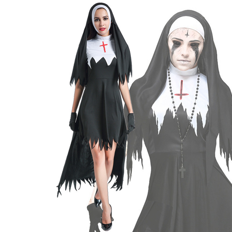 Halloween Ghost Nun Scary Cosplay Costume Women Black Vampire Fantasy Dress Terror Sister Party Disguise Sets Female Fancy Adult