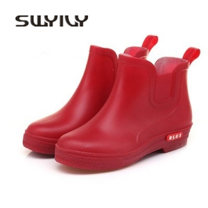 Image 5 - SWYIVY Rainboots Shoes Woman Ankle High 2018 Autumn Female Wellies Water Shoes Flat Pointed Candy Color Rainboots Rubber Boots
