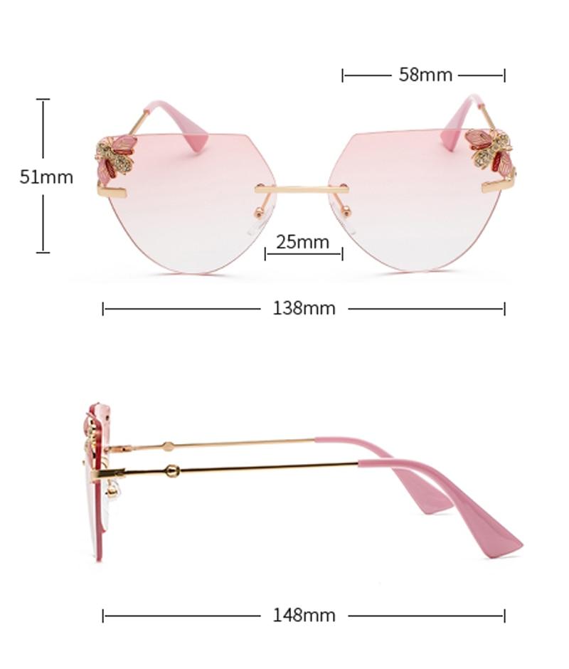 Rhinestone Cat Eye Sunglasses Ladies Triangle detail (3)