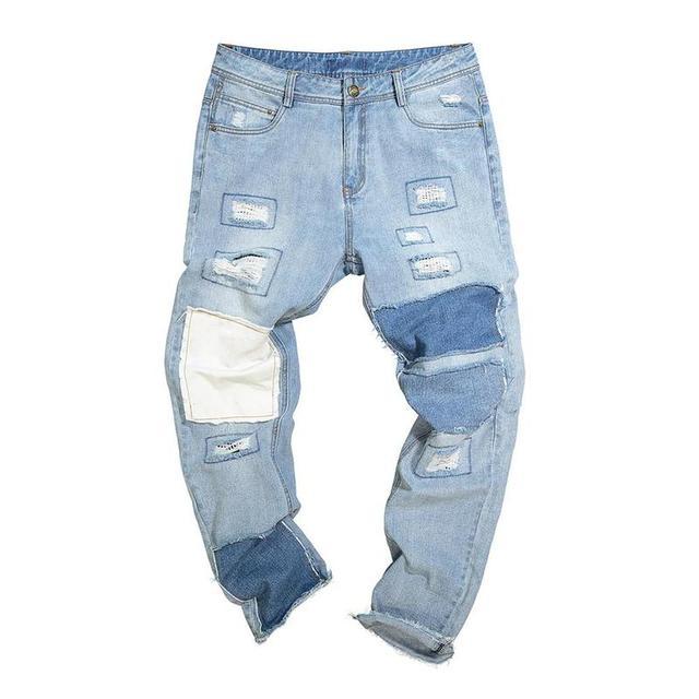 Huation Hi Street Washed Vintage Holes Patch Jeans Men 2018 Brand Hip Hop Hole