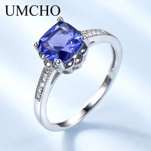 UMCHO Tanzanite Gemstone Rings for Women 925 Sterling Silver Ring Birthstone Engagement Wedding Romantic Valentines Jewelry New недорого
