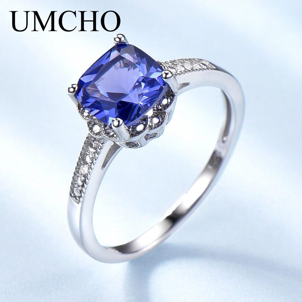 UMCHO Tanzanite Edelstein Ringe für Frauen 925 Sterling Silber Ring Birthstone Engagement Hochzeit Romantische Valentines Schmuck Neue