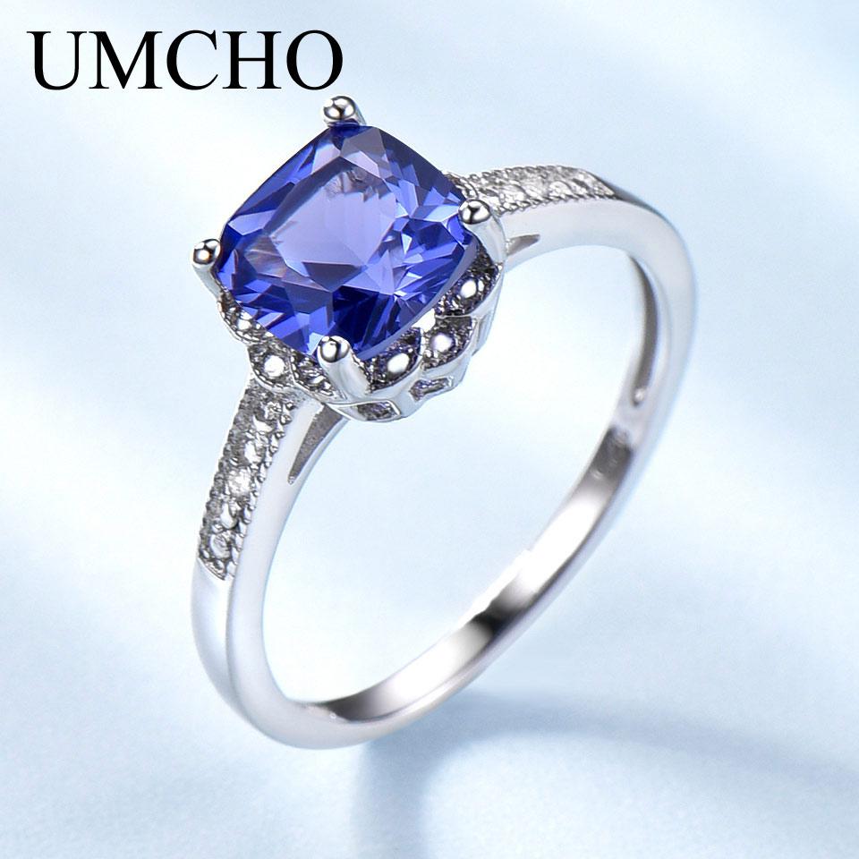 59de8684d0eb UMCHO tanzanita anillos de piedras preciosas para las mujeres de plata  esterlina 925 anillo piedra compromiso boda San Valentín romántico joyería  ...