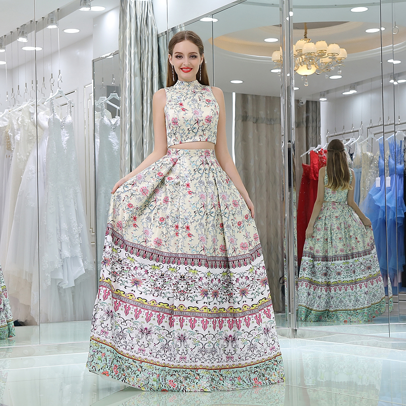 BacklakeGirls Wedding 2017 New Style High Tank Floral Print Pattern Crop Top Draped Floor Length Quinceanera Dresses Customized