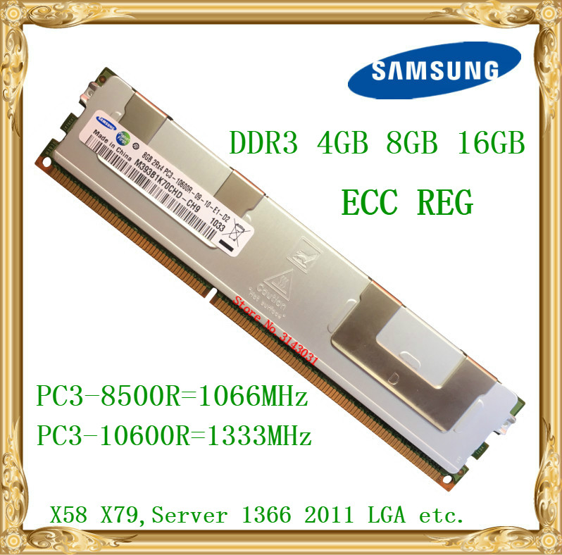 Samsung DDR3 4GB 8GB 16GB server memory 1066 1333MHz ECC REG DDR3 PC3-10600R 8500R  Register RIMM RAM X58 X79 motherboard use server memory for r410 r510 r610 r710 r720 r910 8g ddr3 1333 reg one year warranty