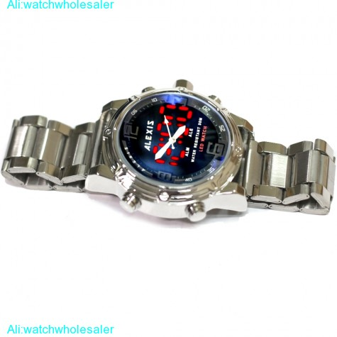 AW802A Date LED BackLight Water Resist Men Dual Time Alexis Analog Digital Watch