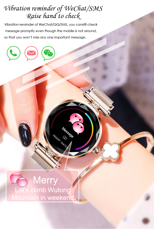 H1 Moda para mujer Smartwatch Dispositivo portátil Bluetooth Podómetro Monitor de ritmo cardíaco Reloj inteligente para AndroidIOS Pulsera inteligente (6)