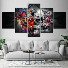Canvas Painting Abstract art skull with flowers 5 Pieces Wall Art Modular Wallpapers Poster Print Home Decor