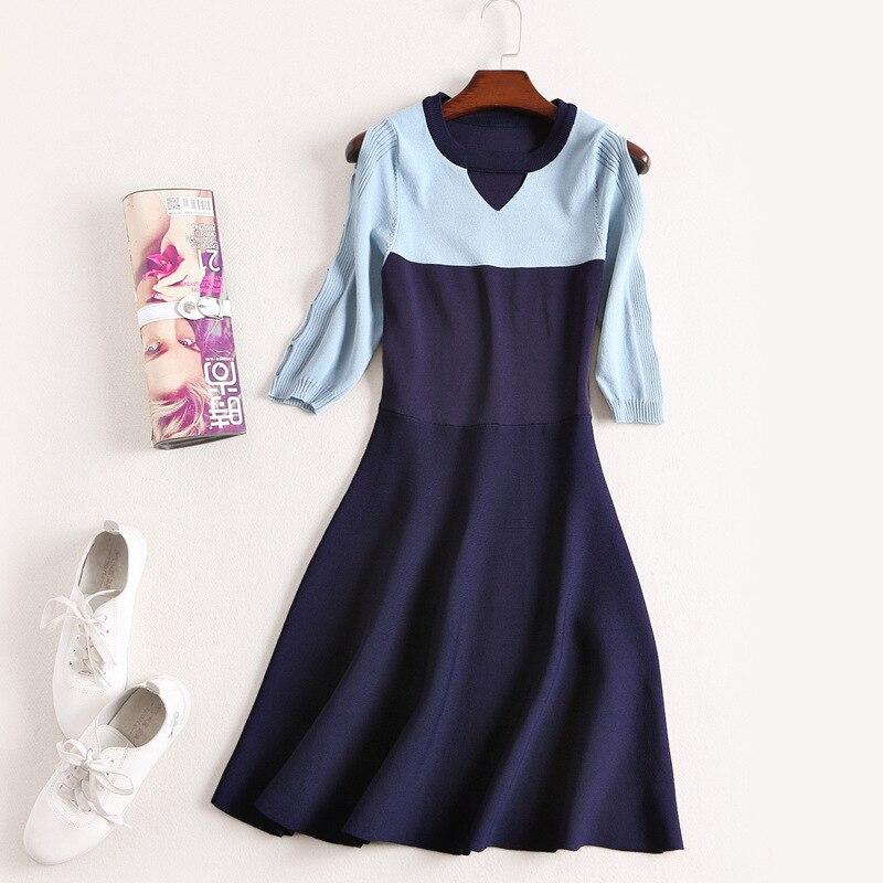 e77ff8f152fe49 OYCP gebreide jurk vrouwen herfst lente casual hol blauw wit gebreide trui  korte dames tuniek mini jurk 2018 in OYCP gebreide jurk vrouwen herfst lente  ...