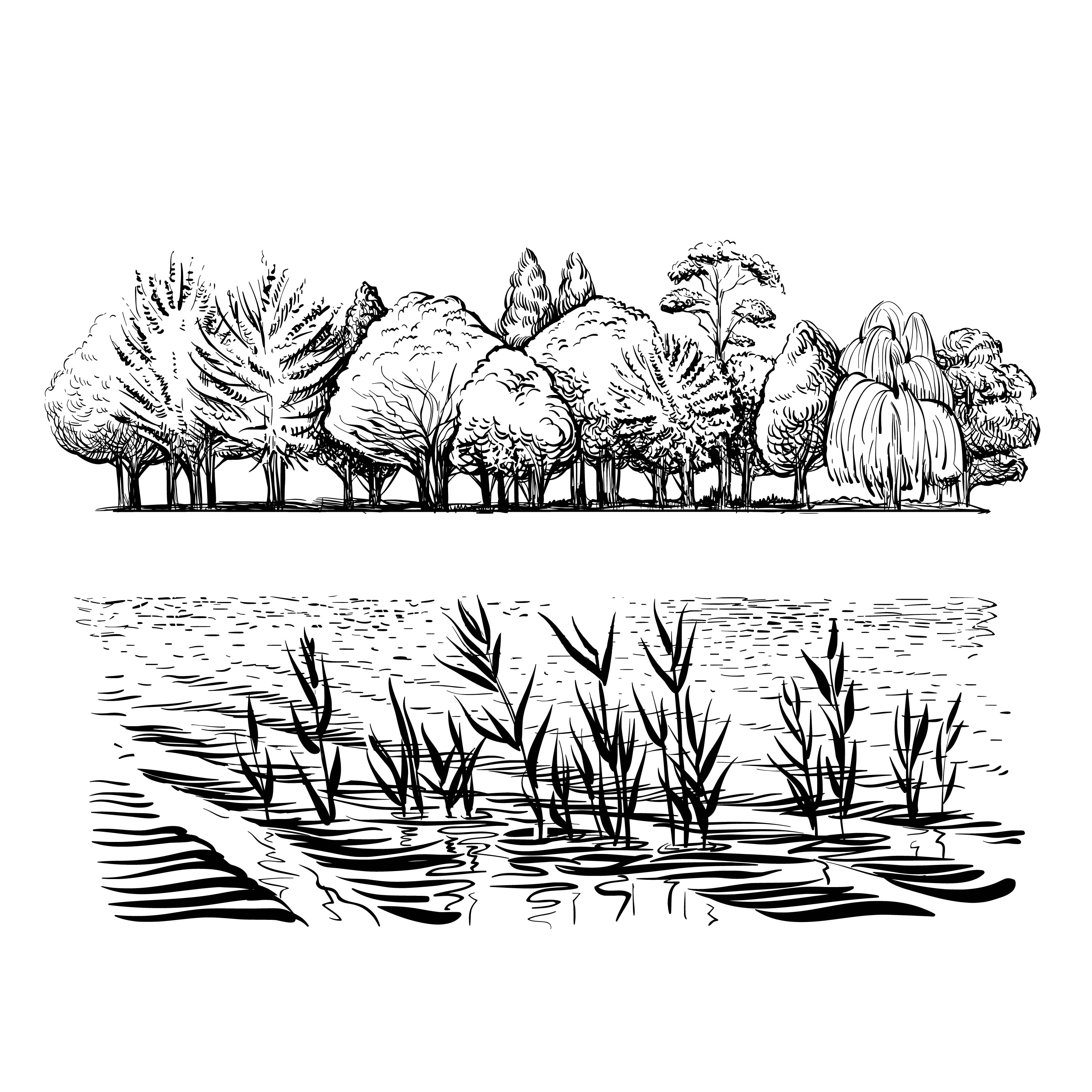 AZSG Willow Trees / River / Reed Clear Stamps For DIY Scrapbooking Decorative Card Making Craft Fun Decoration Supplies 10x15cm