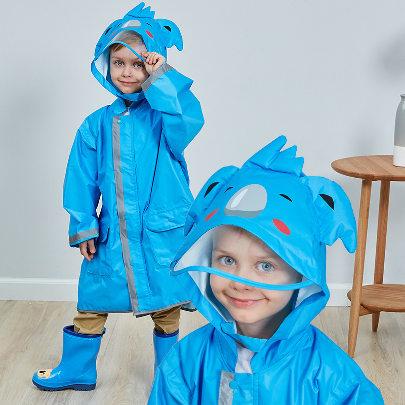 Cartoon animal rabbit Cow frog Childrens raincoat boys girls poncho big hat child safety reflective strip Waterproof raincoat in Raincoats from Home Garden