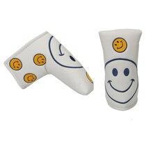 Чехол на голову для гольфа из искусственной кожи с рисунком улыбающегося лица чехол для клюшек для гольфа