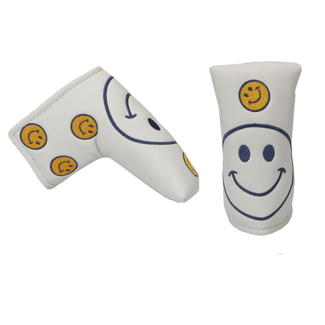 golf headcover PU putter headcover Smiling face pattern Golf Clubs cover