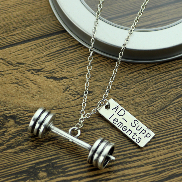"New Fitness Necklaces & Pendants Handmade letter""No Weakness"" Dumbbell jewelry, 45 LBS 204KG, AD-Supp Lements Fashion Coach Gift"