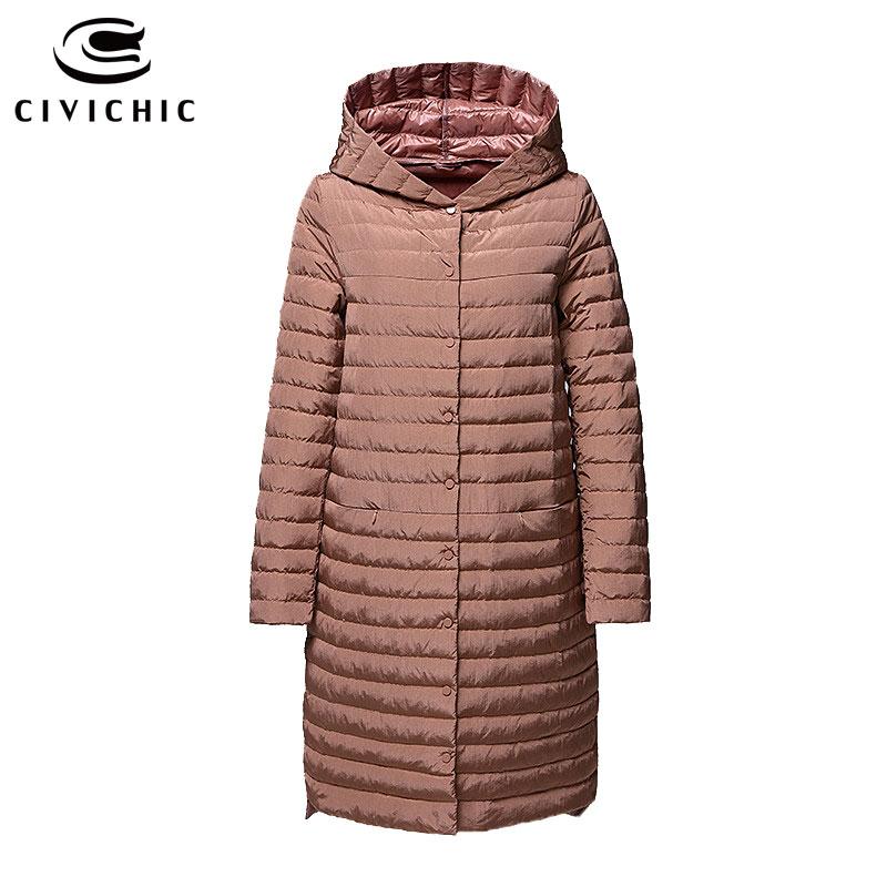 CIVICHIC S XXXXXL mujer luz chaqueta largo botones abrigo de invierno cálido con capucha edredón ropa de moda de DC532-in Plumíferos from Ropa de mujer    1