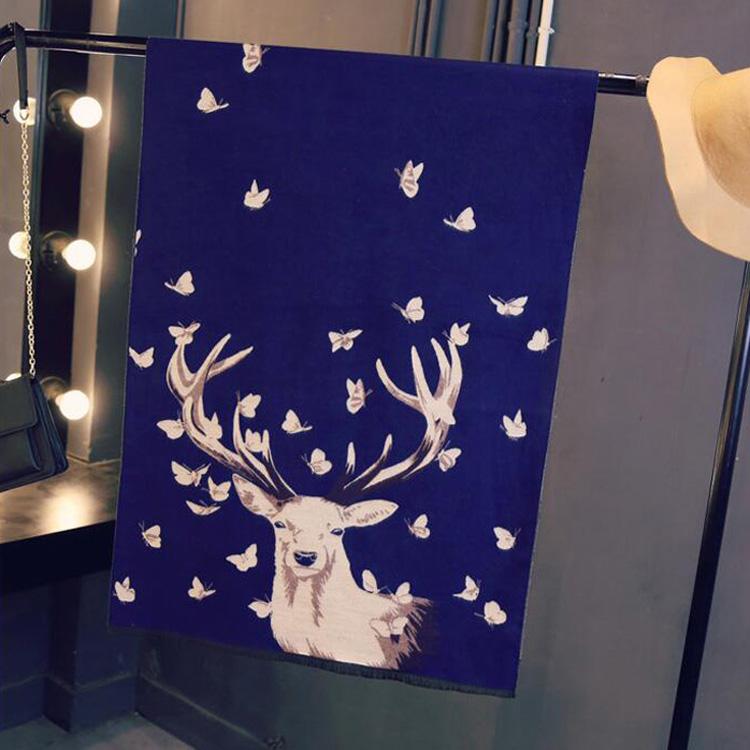 Deer Pashmina-Navy
