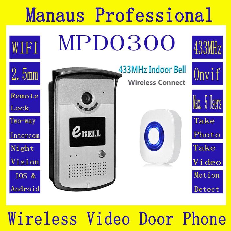 Motion Detection WIFI IP65 Video Door Phone Outdoor Monitor Intercom with 720P Smart IP Doorbell & Indoor Bell ATZ-DBV03P-433MHz the latest wifi magnetic lock ip65 rainproof video door phone outdoor monitor intercom atz dbv04p doorbell with 720p ip camera