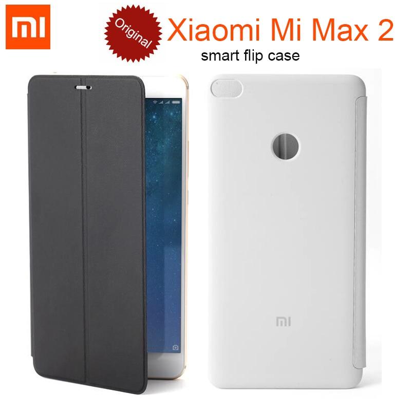 imágenes para 100% Original Xiaomi mi Max 2 Inteligente PU Del Tirón Del Cuero Cubierta de la Caja con el sostenedor del soporte de 6.44 pulgadas genuino Para Xiaomi mi Max 2 MAX2