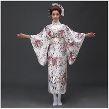 New Arrival Japanese Traditioinal Satin Kimono Classic Yukata With Obi Sexy Vintage Women's Prom Dress Floral One Size(China)