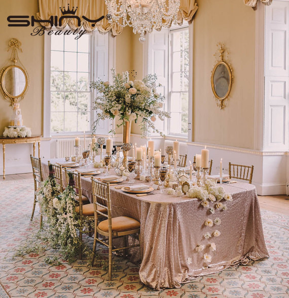 Champagne Blush High Density 60x102 Inch Sequin Tablecloth Wedding Table Cloth Sparkle Linens A In Tablecloths From Home Garden On