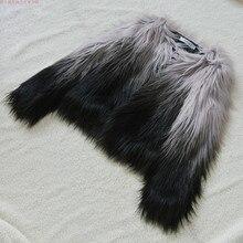 Женская градиентная искусственная меховая Шуба Меховая верхняя одежда короткая зимняя меховая Шуба Большой размер Меховая куртка