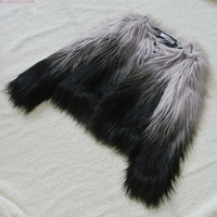 Women Gradient Fur Coat Faux Fur Outerwear Short Winter Fur Overcoat Large Size Fur Jacket