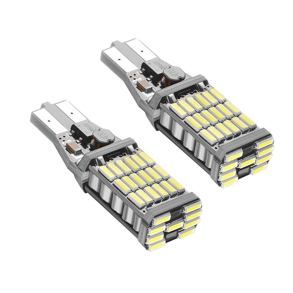 2xW16W T15 T10 45SMD Chipsets LED Canbus Error Free Bulbs For Backup Reverse Lights 1000 Lumens 6000k Xenon White 2 Piece