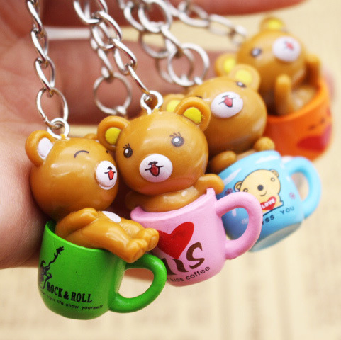 pcs lot Kawaii Cartoon Animal Action Figure Pendant Key chain PVC Bear and Cup Keychain For Women Girls Gifts Car Bags Keyring in Key Chains from Jewelry Accessories