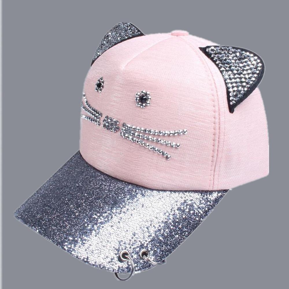 2017 summer cat ear sequins ring mesh baseball caps