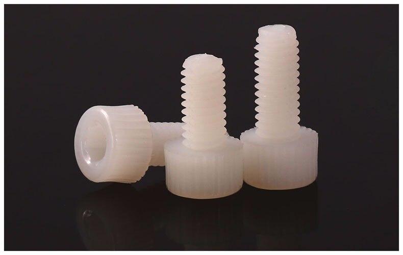 Nylon screw PA66 Cylindrical head screws M3 M4 M5 M6 M8 Knurled Bolts Plastic screws insulation