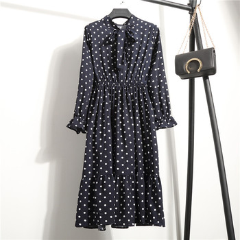 2019 Autumn Women Dress For Ladies Long Sleeve Polka Dot Vintage Chiffon Shirt Dress Casual Black Red Floral Winter Midi Dress 1