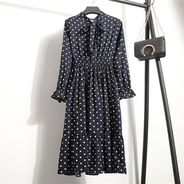 2019 Spring Women Dress For Ladies Long Sleeve Polka Dot Vintage Chiffon Shirt Dress Casual Black Red Floral Autumn Midi Dress 2