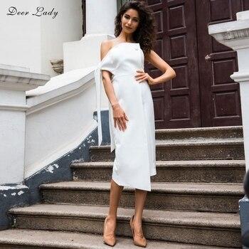 ¡Novedad de 2019! vestido de verano para mujer de ciervo, vestido largo blanco elegante con hombros descubiertos, vestido ajustado de alta calidad al por mayor HL