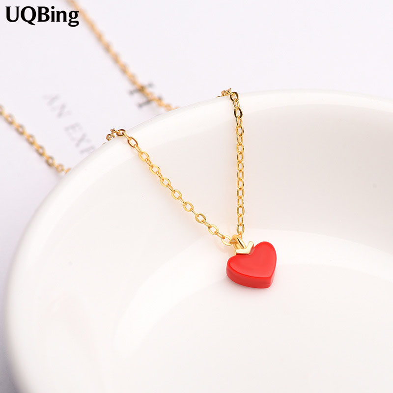 High Quality 925 Sterling Silver Red Heart Necklace&Pendant Jewelry Wholesale Women Silver Necklace Jewelry