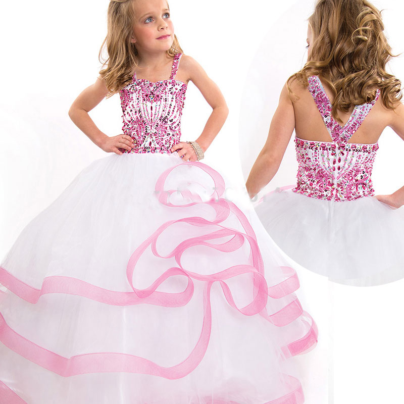 2016 Kids Beauty Pageant Dresses With Heavily Beaded Ball Gown Puffy ...