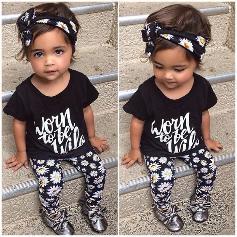 The new summer baby girl clothes 3 pcs / pack Flower Band T-shirt pants baby clothing sets baby girl 3 piece suite
