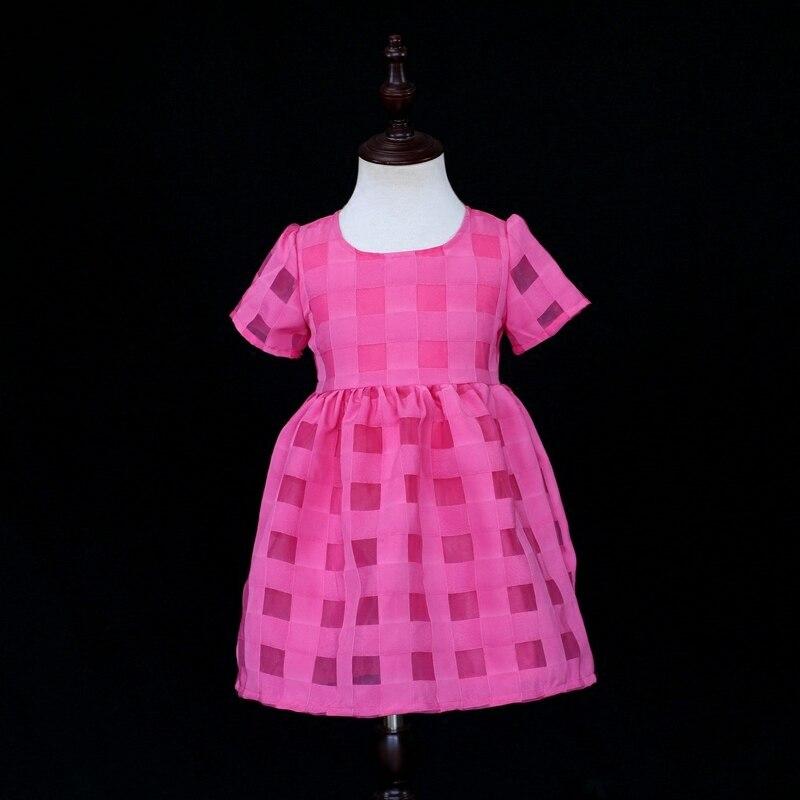 Marque mère et fille rose plaid organza vêtements ensembles famille correspondant vêtements enfants filles robe maman fille robe d'été