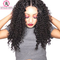 Rosa Queen 360 Lace Frontal Closure Deep Wave Brazilian Remy Hair 100 Human Hair Natural Black