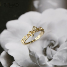 цена на Gold Color Bowknot Rings For Women Elegant Inlaid Crystal Engagement Wedding Rings For Girl Gift