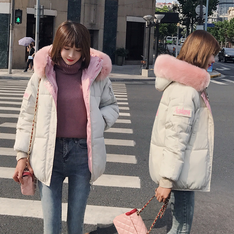 Short Hooded Fur Collar Student Winter   Down     Coat   Jacket Warm Women Casaco Feminino Abrigos Mujer Invierno 2018 Wadded Parkas 05