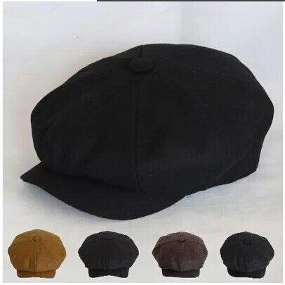Pano tampa octogonal boina pintor cap jornaleiro khaki preto homens e mulheres de revistas de quatro estações chapéu