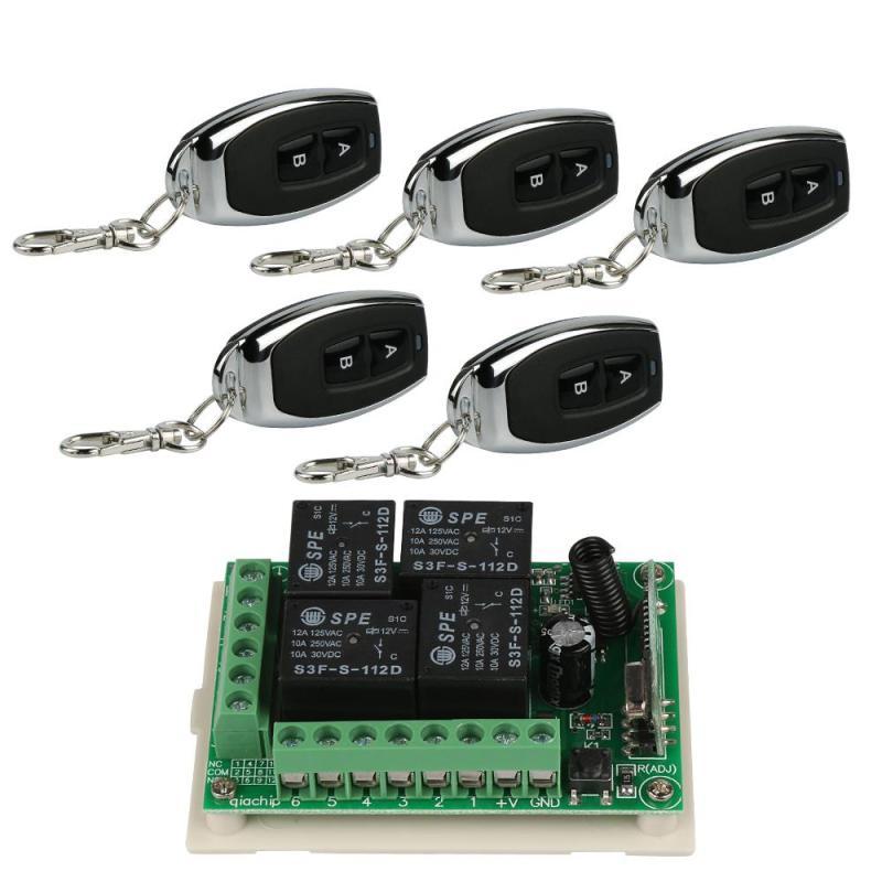 5 unids 433 Mhz RF 2 canal Control remoto transmisor de código de aprendizaje (1527/ev1527) + 4-ch receptor módulo Control remoto sistema