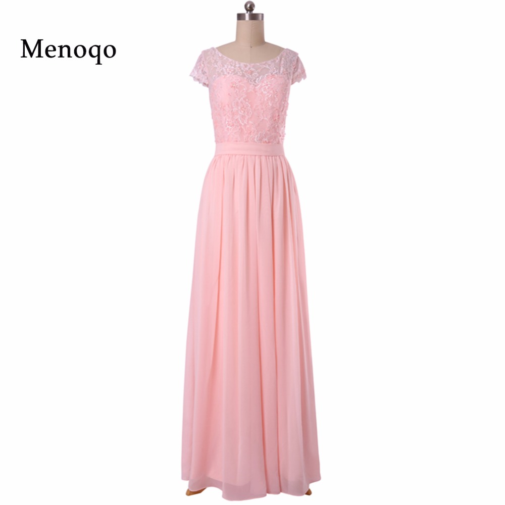 New Arrival Custom Made Pink Long Chiffon A line Lace Cap sleeve Floor length long Real Sample   Bridesmaid     Dresses   2019